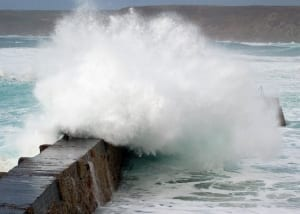 Stormy seas at Sennen